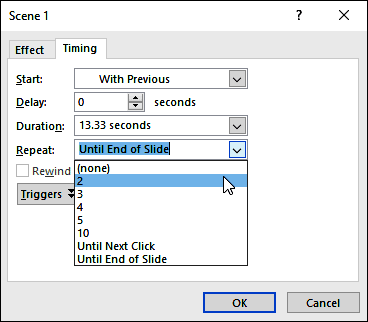Timing tab of the Scene dialog box