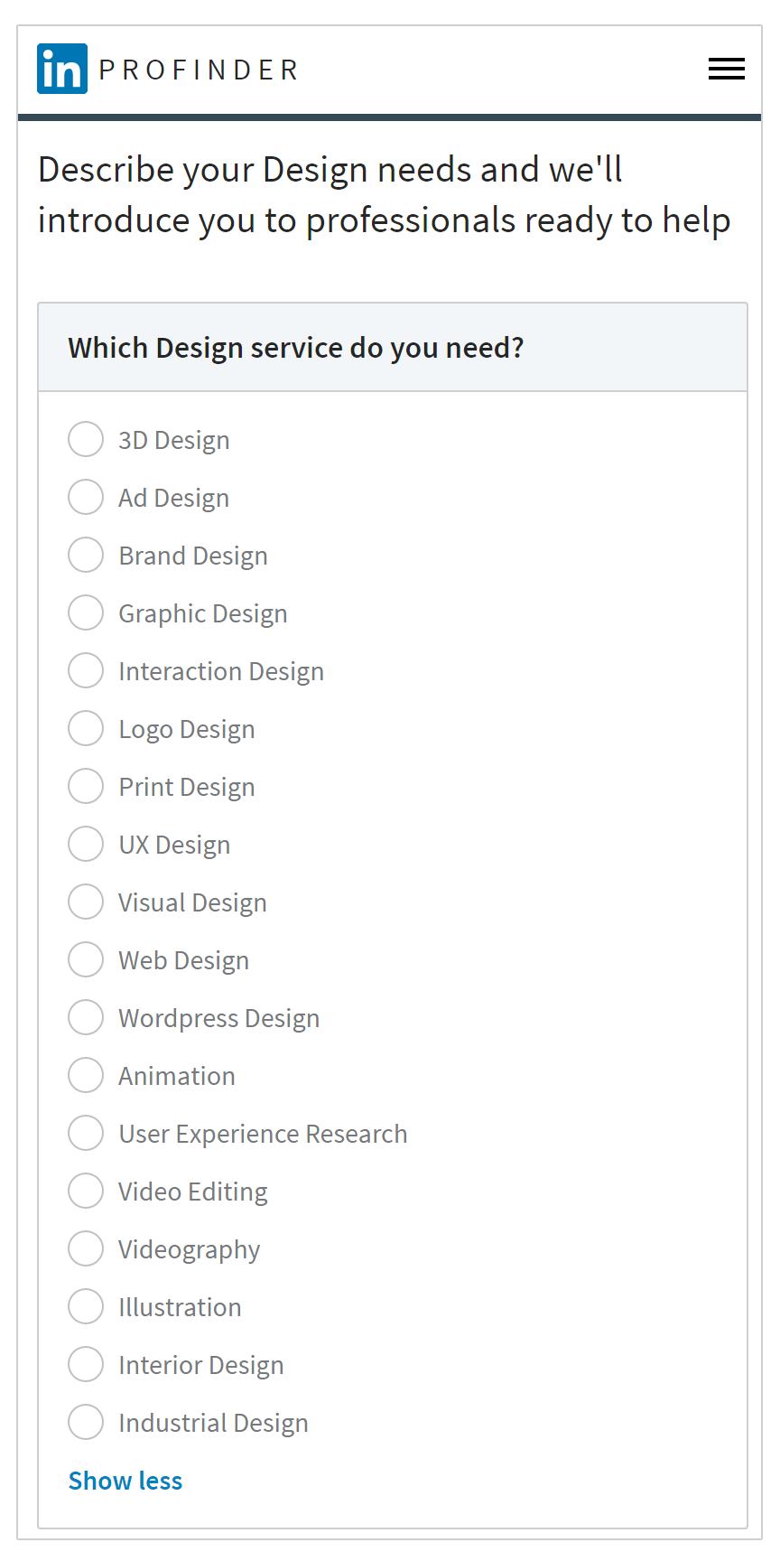 LinkedIn ProFinder offers 18 subcategories of design, but not presentation design.